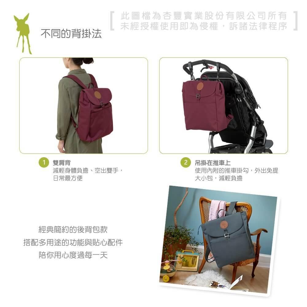 德國媽媽包No.1品牌,LASSIG讓媽媽包不只是媽媽包,兼具時尚與功能性,大開口大容量多隔層,附育兒配件:防水尿布墊、奶瓶保溫袋、推車掛勾,實用推薦